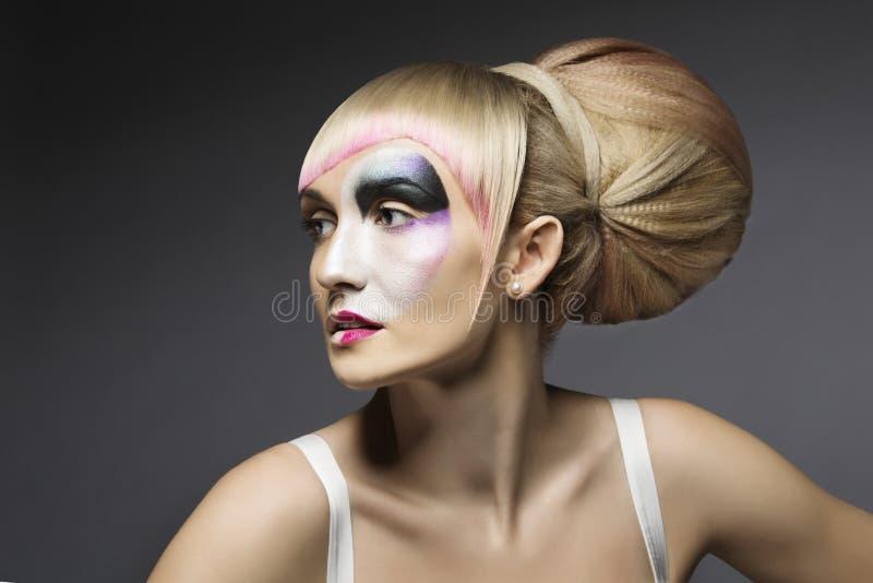 Modekvinnasmink, konstnärlig modell Girl Makeup Face fotografering för bildbyråer