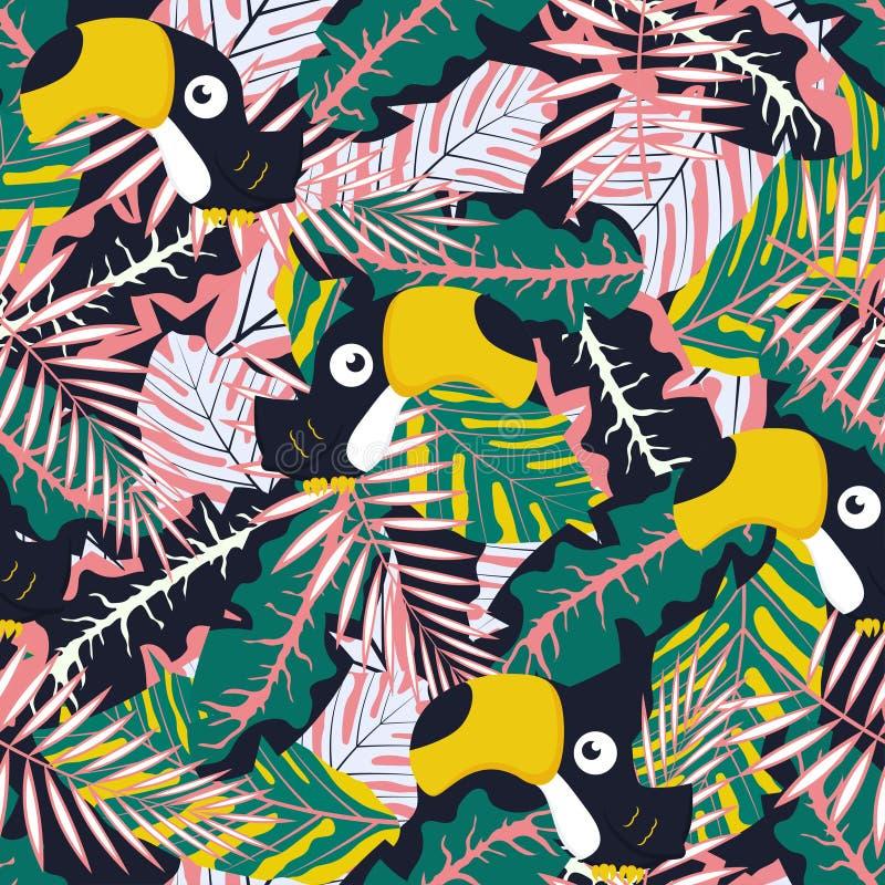 Modelé avec des feuilles et tukan illustration stock