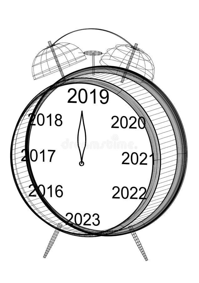 New Year countdown Clock Blueprint stock illustration