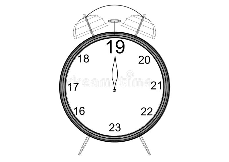 New Year countdown Clock Blueprint - isolated royalty free illustration