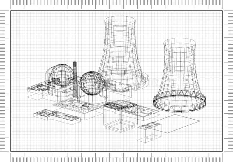 Architect Blueprint vector illustration