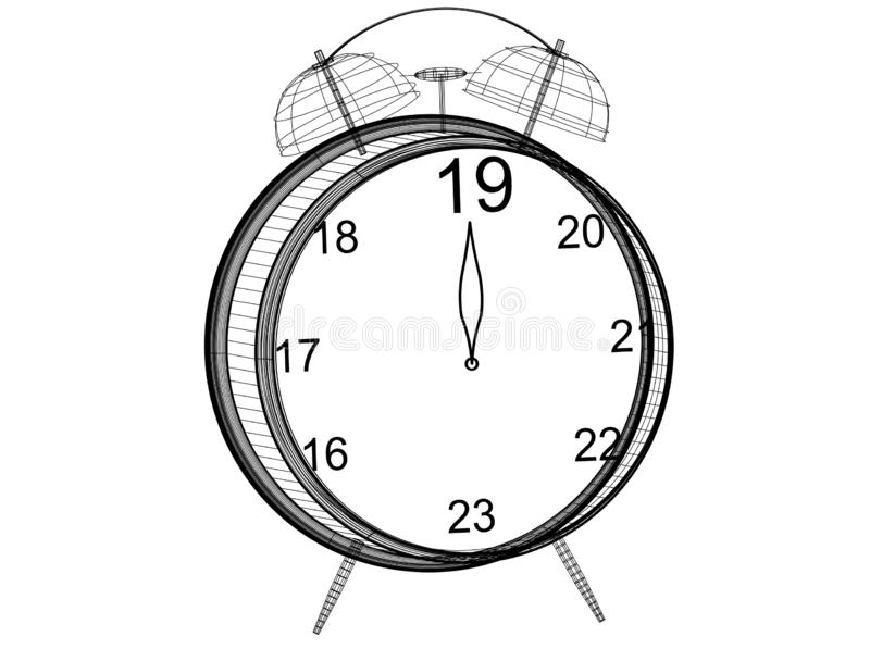 New Year countdown Clock Blueprint royalty free illustration