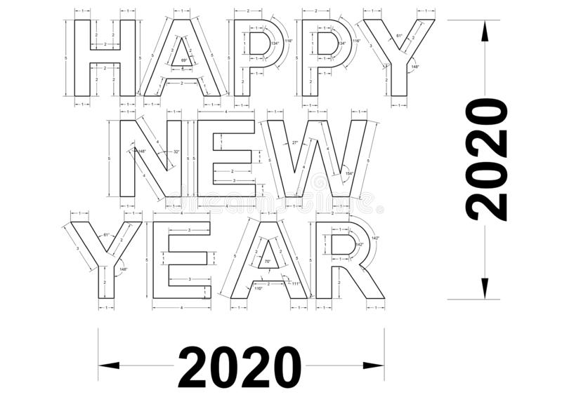 Happy Holidays 2020 Blueprint vector illustration