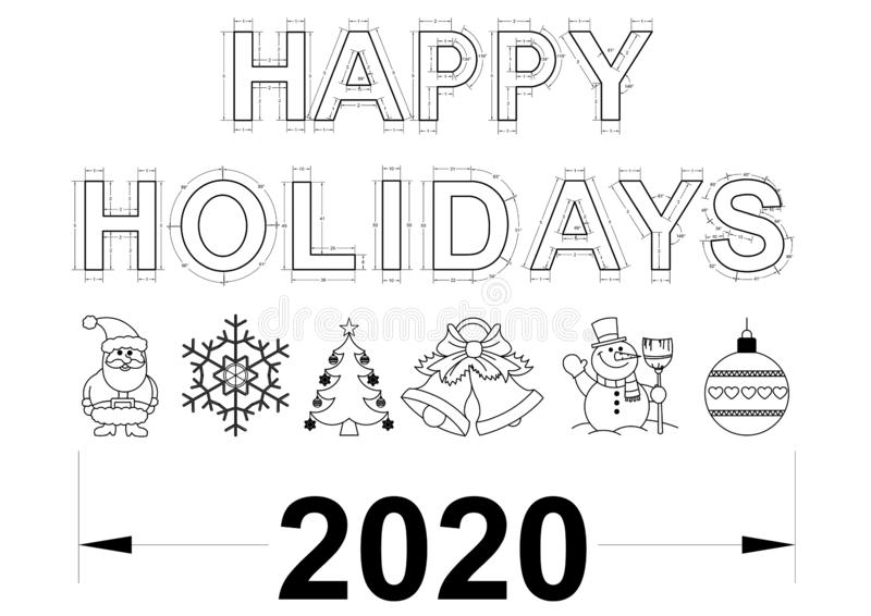 Happy Holidays 2020 Blueprint royalty free stock photography