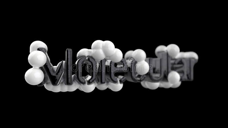 Model abstrakcjonistyczna cząsteczkowa struktura z słowa literowaniem w modnych czarny i biały kolorach pojedynczy białe tło ilustracji