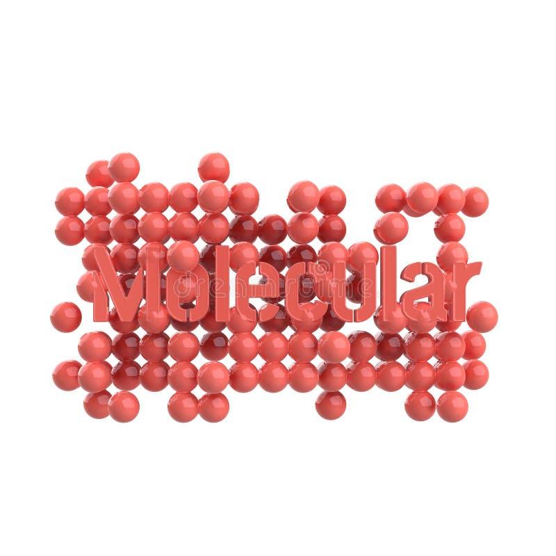Model abstrakcjonistyczna cząsteczkowa struktura z słowa literowaniem w modnym różowym glansowanym metalu pojedynczy białe tło 3d ilustracji