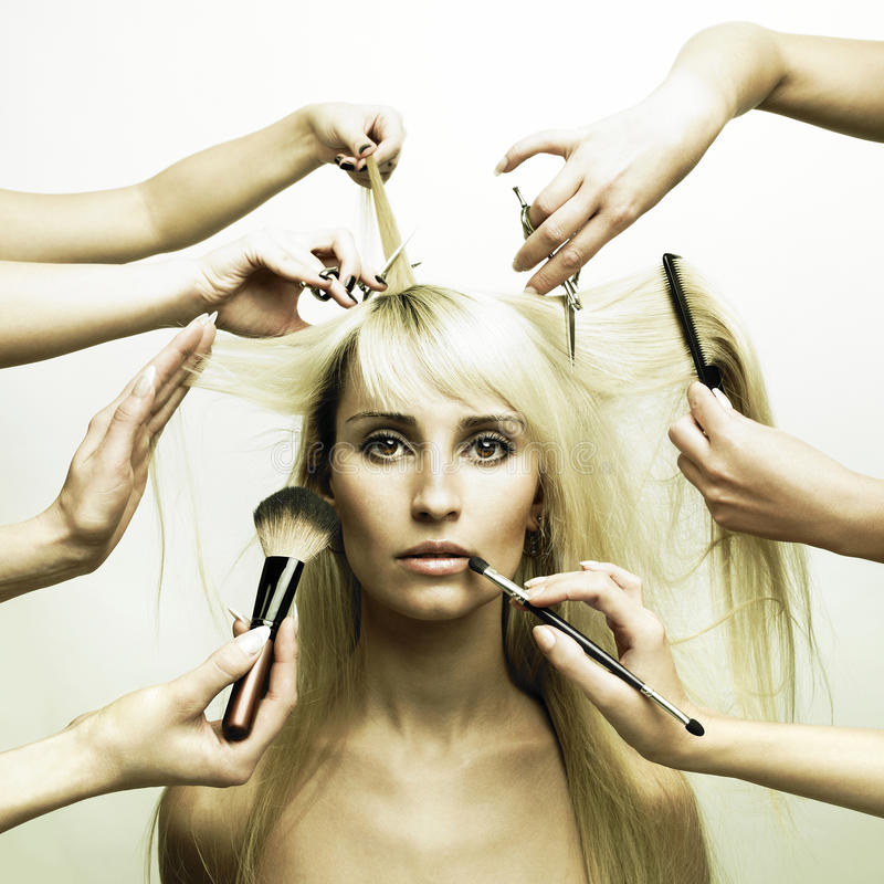 Free Model And Hands Of Stylists Royalty Free Stock Image - 14929086