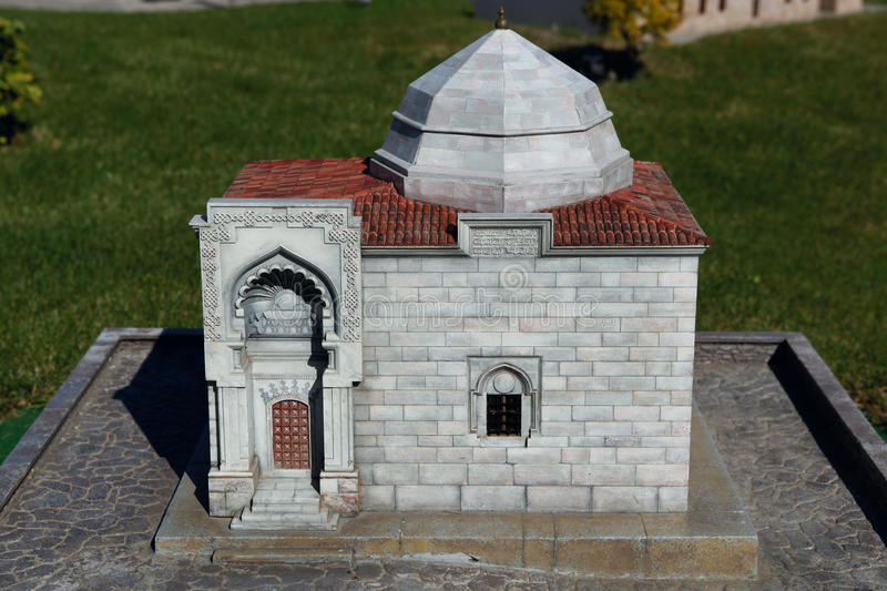 Model of Asik Pasa Tomb. In Miniaturk Park which contains miniature models of famous structures from Istanbul,Anatolia and Ottoman territories that today lie stock photo