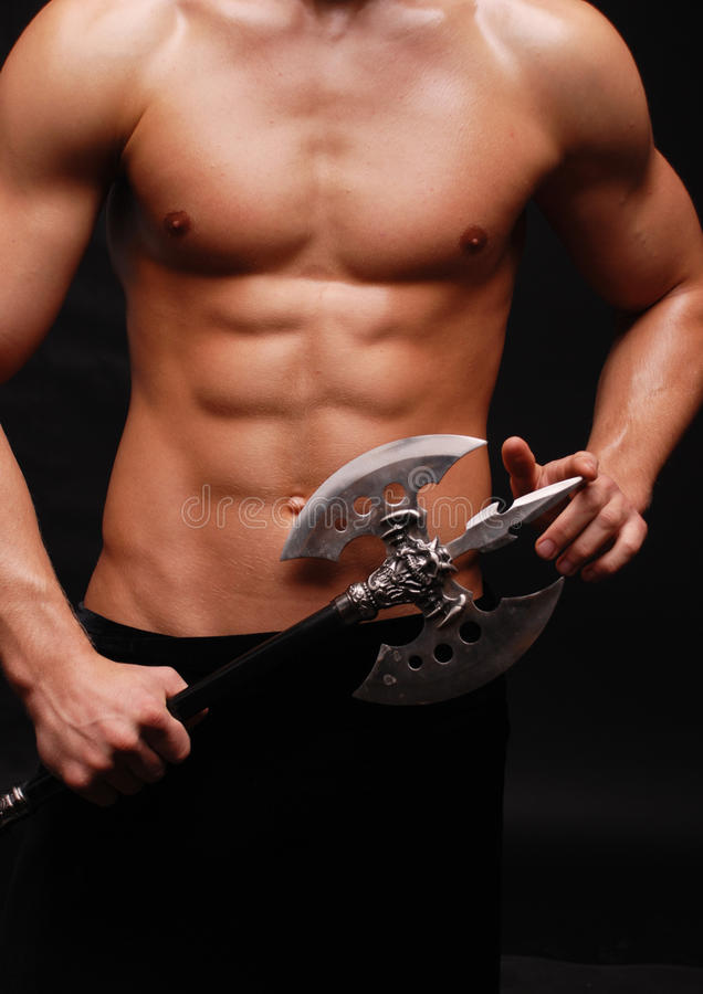 Download Model with an axe stock photo. Image of bodybuilder, sportsmen - 15050470
