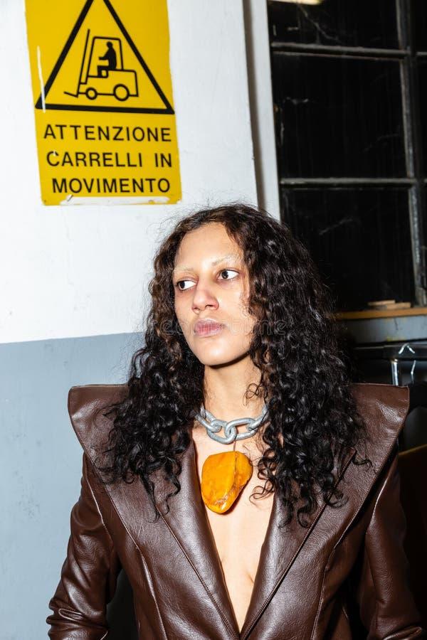 Model in the backstage during Milan Men`s Fashion Week royalty free stock photos