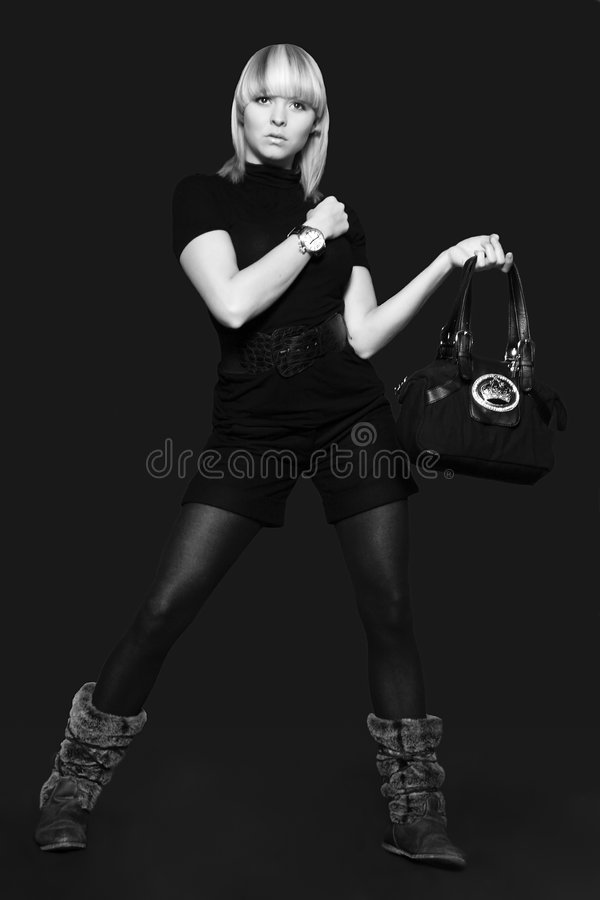 Model with a bag royalty free stock images