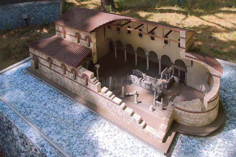 The model of The Basilica of Ancient Chersonesos reconstruction in the `Crimea in Miniature` in Evpatoria town, Crimea stock photos