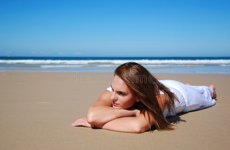 Model on beach royalty free stock images