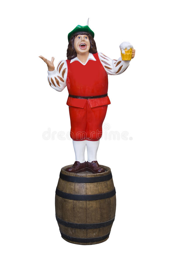 Model with beer drinker and barrel. stock photos
