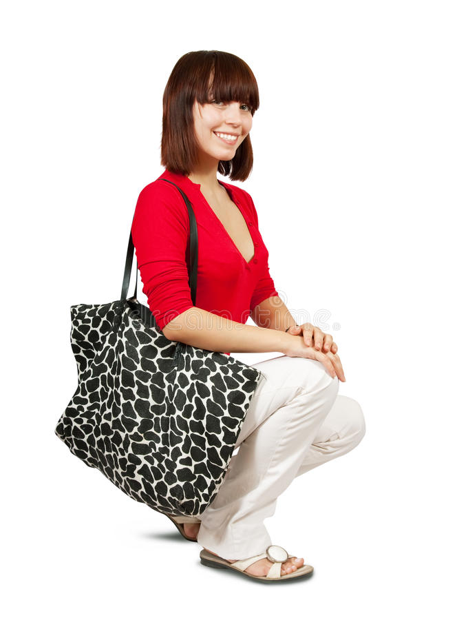 Download Model with big bag stock photo. Image of beauty, brunette - 15249480