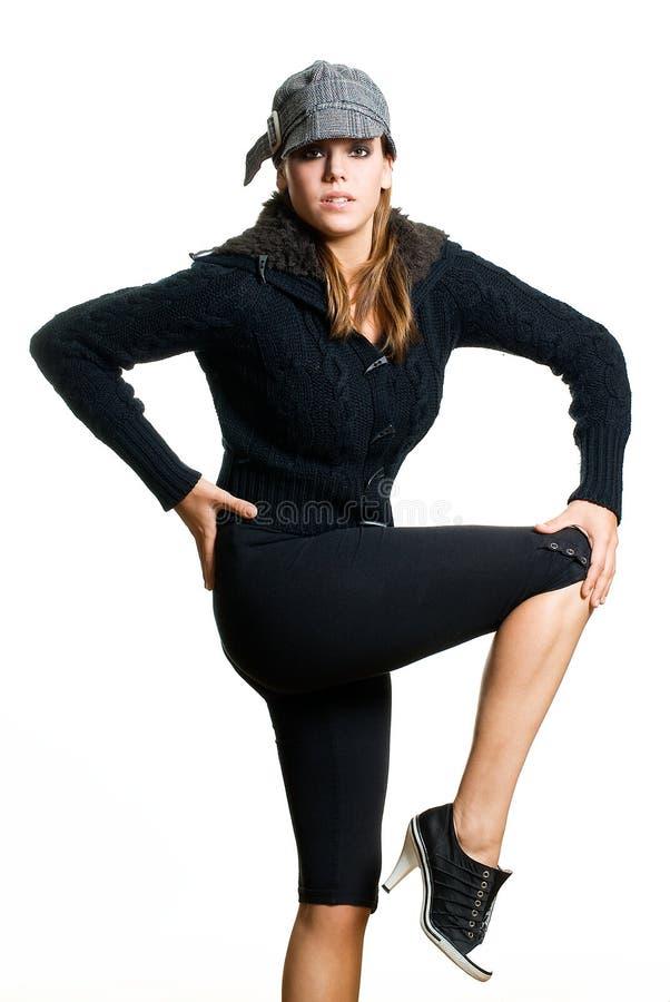Model In Black Stock Image
