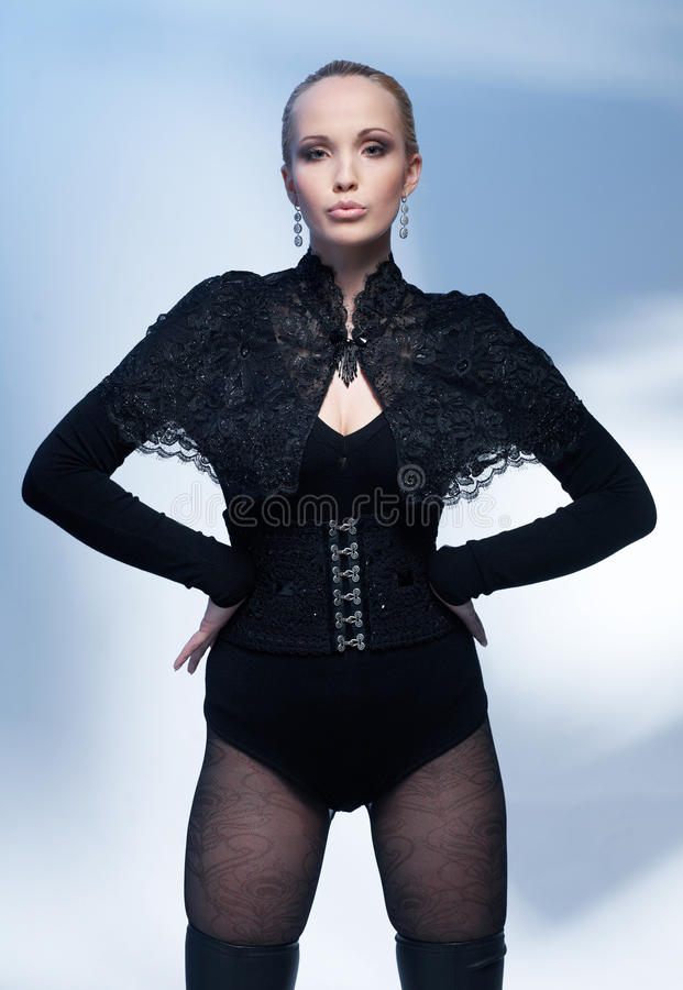 Model In Black Corset. Royalty Free Stock Images
