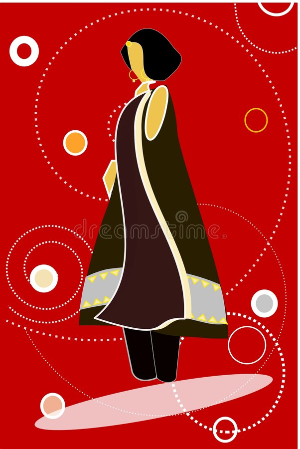 Model in black dress against red background. Illustration of a fashion model posing for the camera royalty free illustration