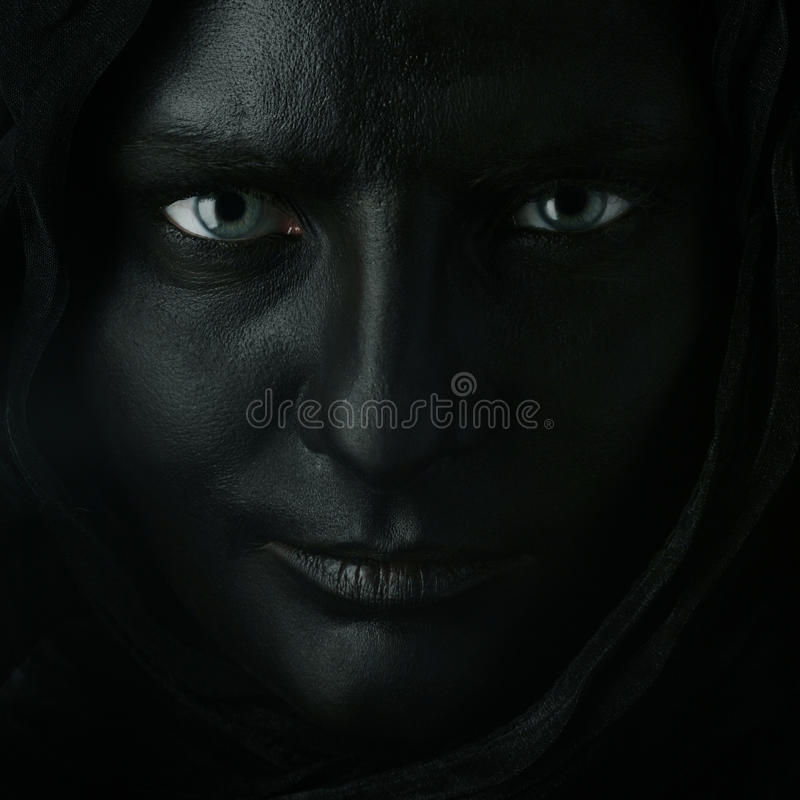 Model with black face. stock image