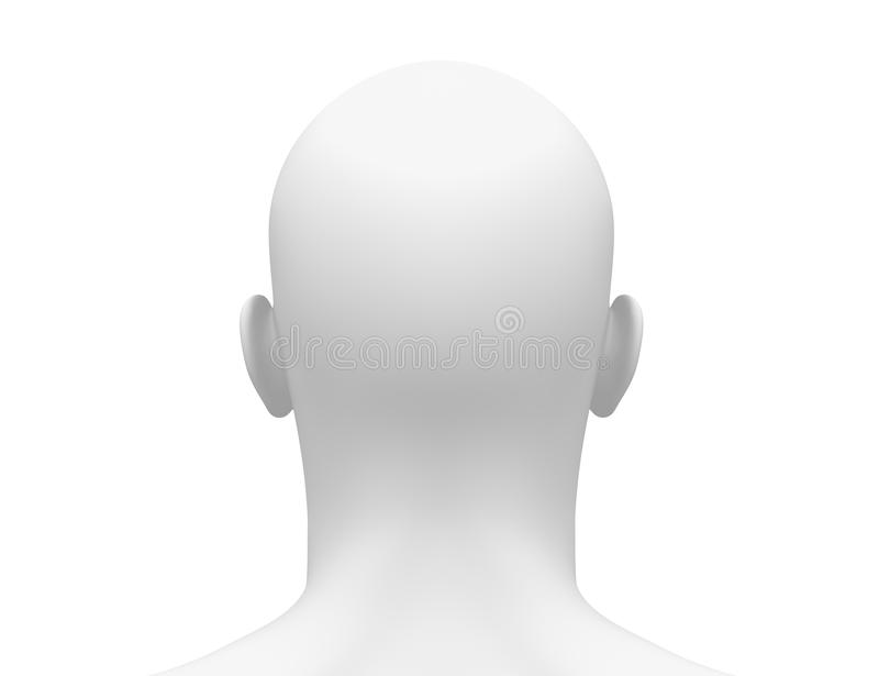 Blank White Male Head - Back view stock illustration