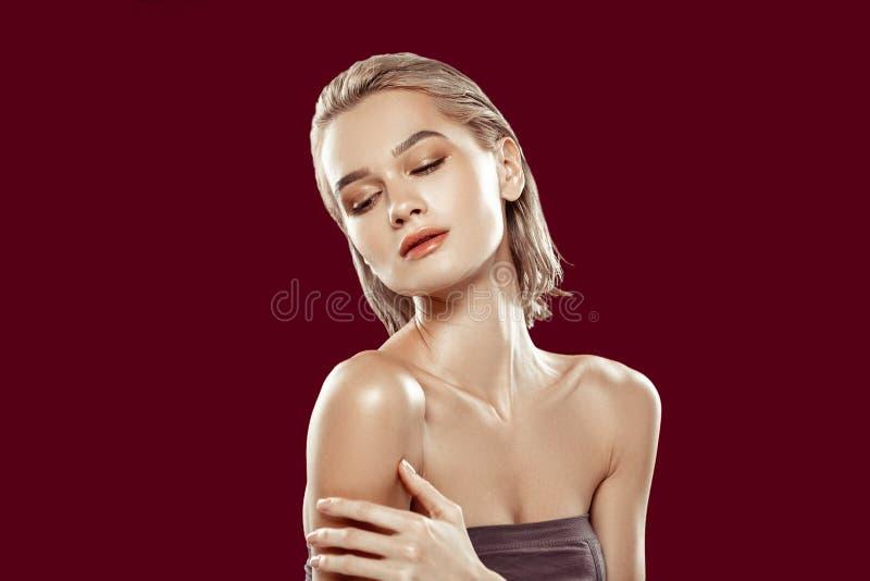 Model with blonde short hair having nice natural makeup stock image