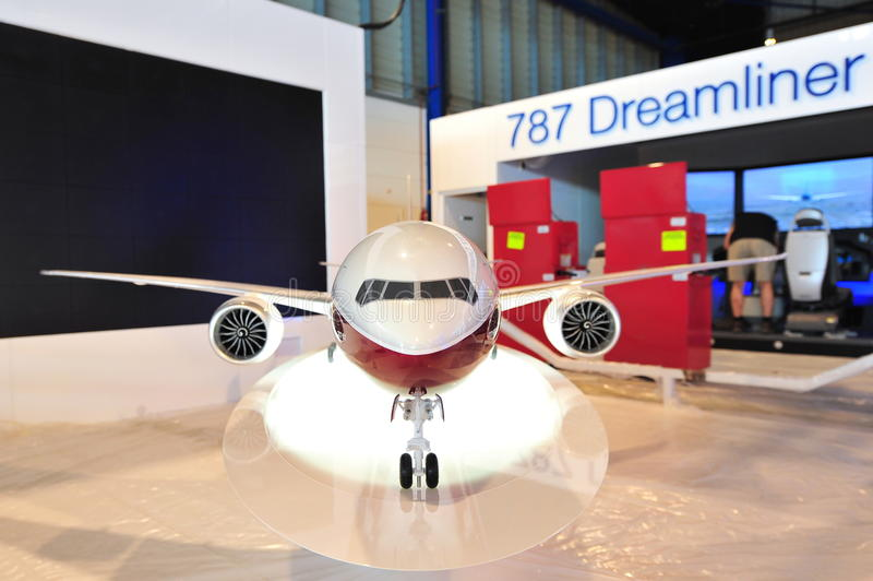 Model of Boeing 777-9X on display at Singapore Airshow 、 royalty free stock images