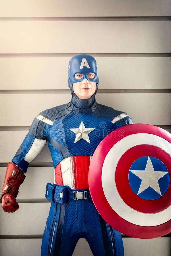 A model of Captain America at the Bard Fort in Aosta valley, Italy royalty free stock photo