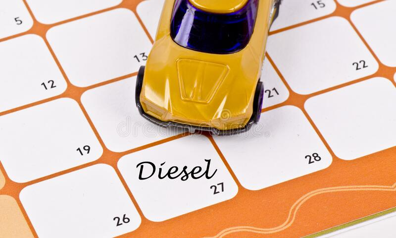 Model car on calendar stock photo