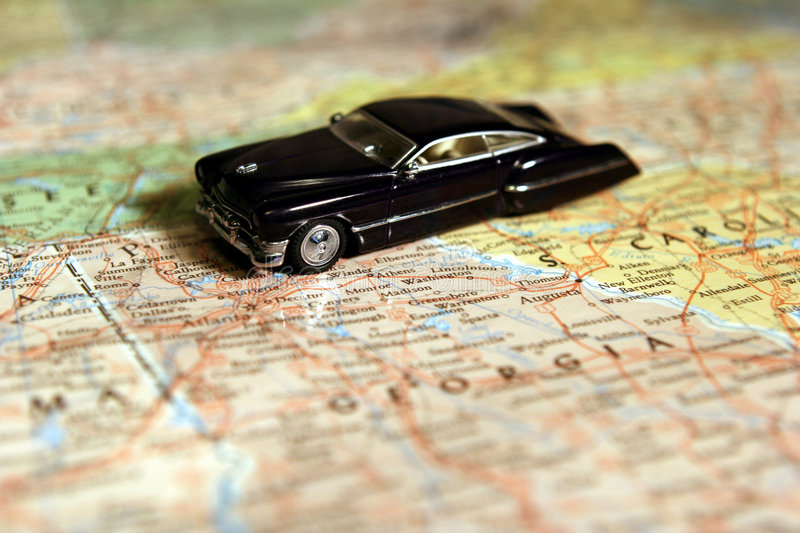 Model Car on Map royalty free stock image