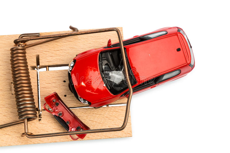 Model car in a mousetrap royalty free stock photography
