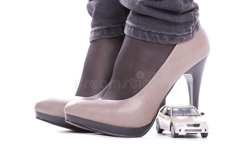 Model of the car about shoes royalty free stock image