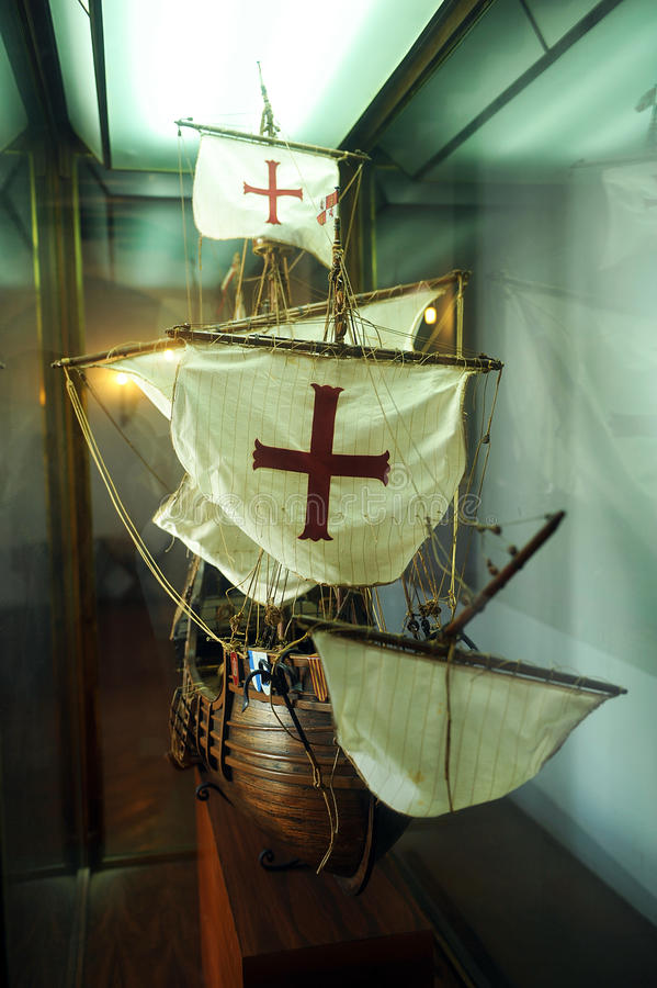 Model of the caravel Santa Maria, Spain. This scale model of the caravel Santa Maria used by Christopher Columbus in the discovery of America is in the monastery stock images