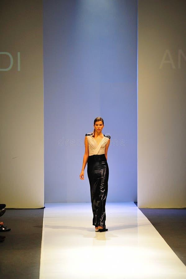 Model cat walking during Audi Fashion Festival stock photography
