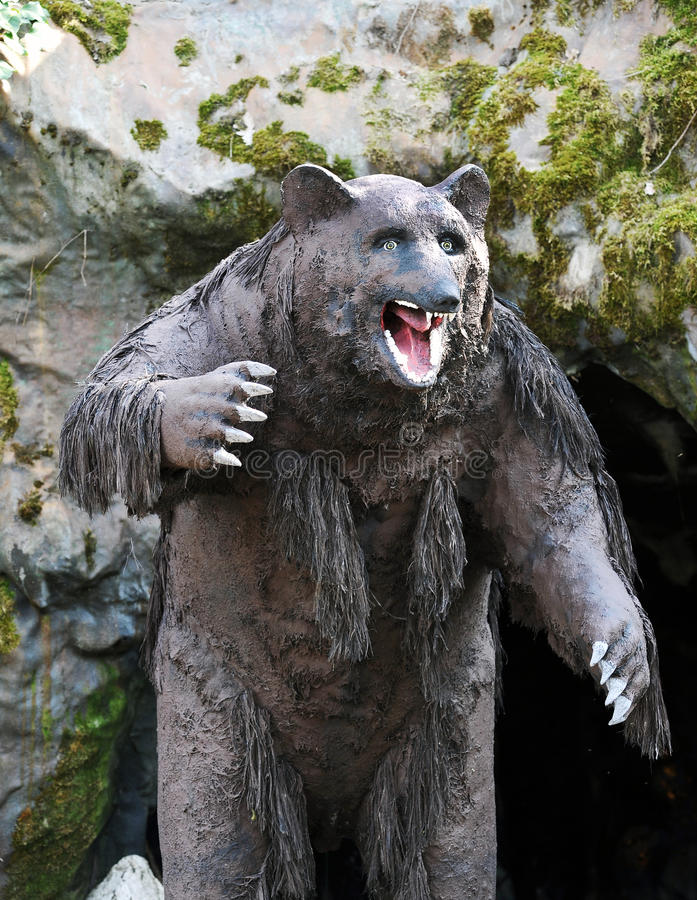 Model of Cavern Bear in Outdoor Theme Park stock photos