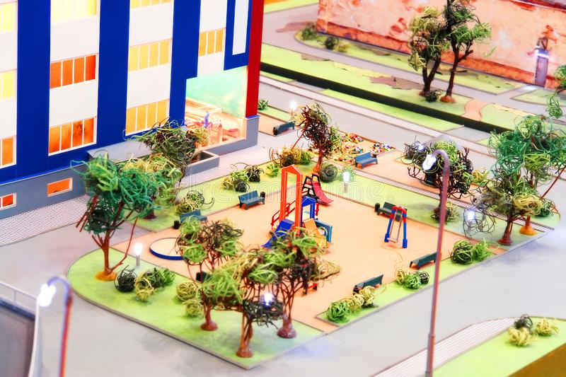 Model of a children's playground stock photos