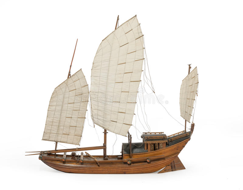 Model Chinese or Indian junk boat isolated on white royalty free stock image