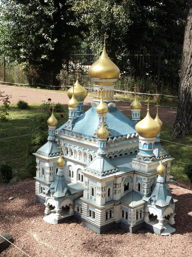model of the church building in the Pokrovsky nunnery at the Kiev exhibition in miniature stock photography