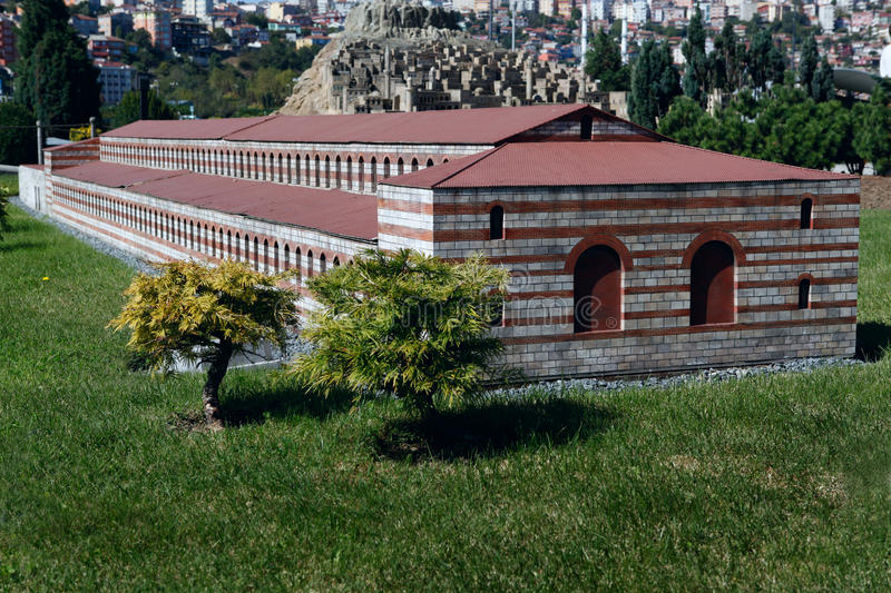 Model of Church of Virgin Mary. In Miniaturk Park which contains miniature models of famous structures from Istanbul,Anatolia and Ottoman territories that today stock image