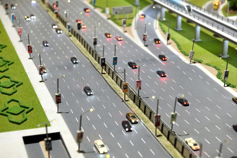 Model of city street with multi lane highway royalty free stock photos