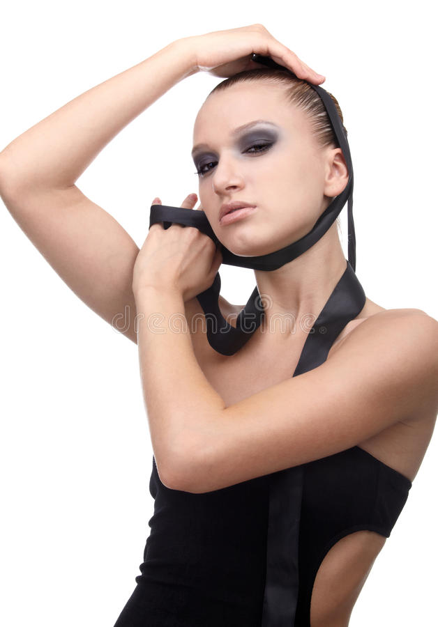 Model With Cloth Ribbon Stock Photo
