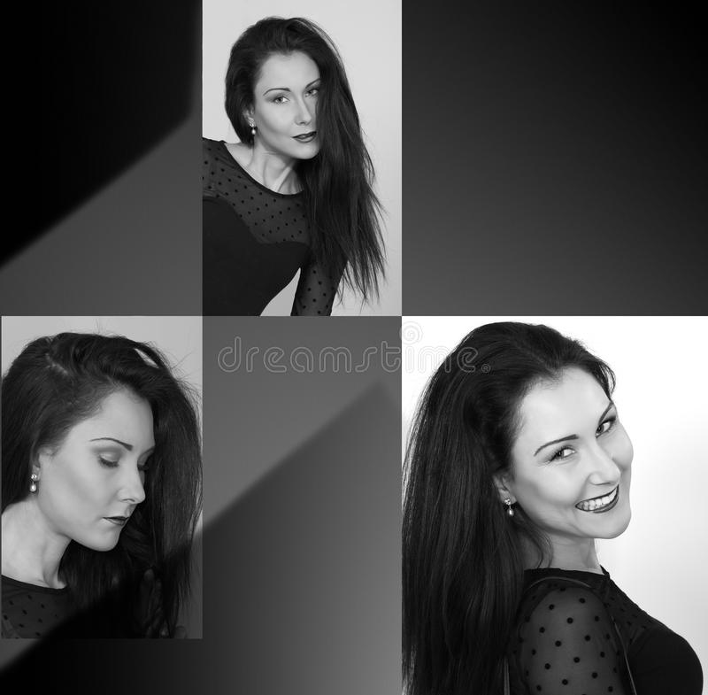 Model collage. Three expression and copy space, black and white portrait stock image