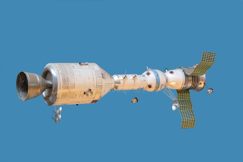 Model connected spaceships Apollo and Soyuz stock photography