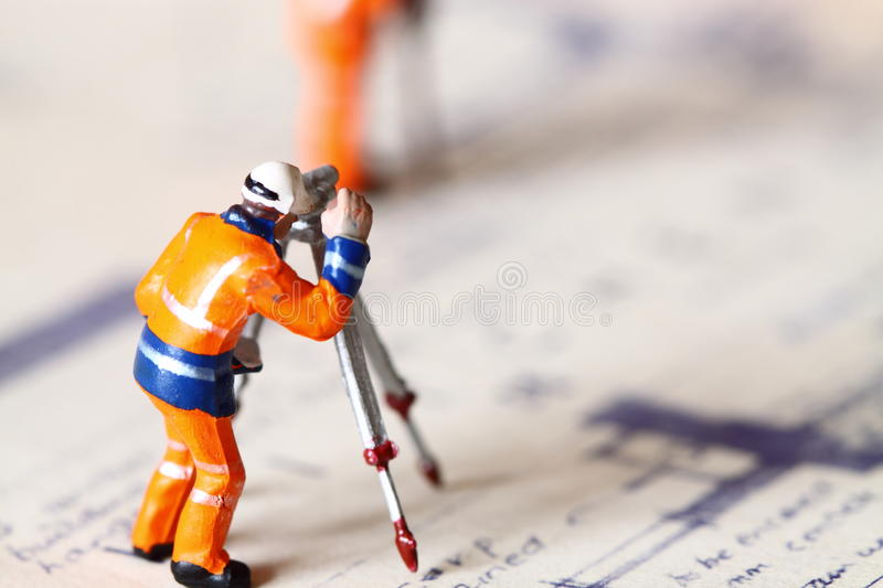 Model construction worker building plans D stock photography