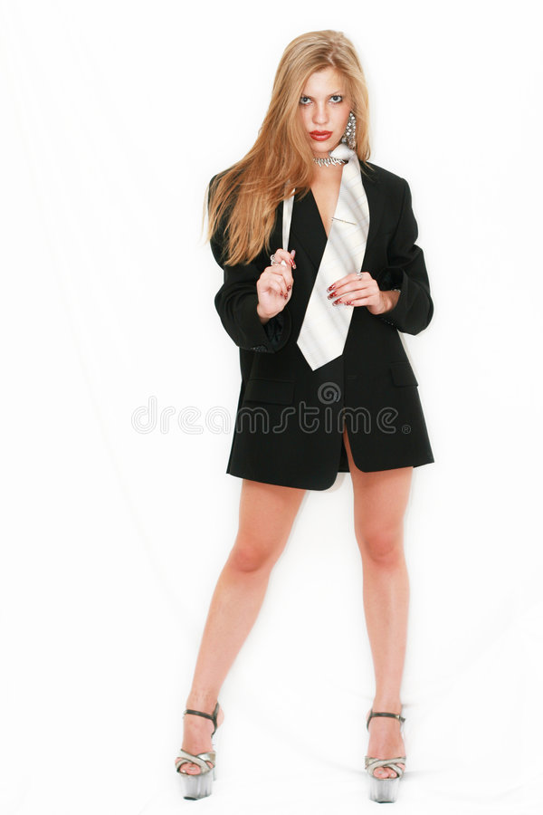Model in costume. Model in black costume with tie royalty free stock photography