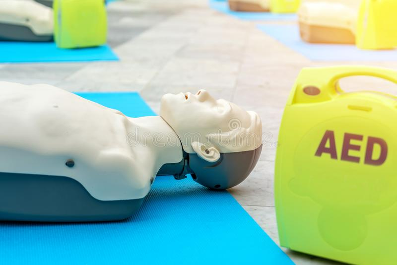 Model for cpr and AED training automated external defibrillator. Model for cpr and AED training. automated external defibrillator stock images