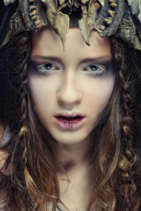 model with creative hairstyling and bright make up stock images