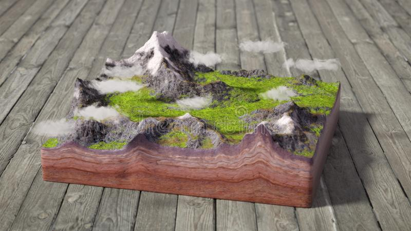 Model of cross section of ground with mountains, meadows and cloud. S stock photo