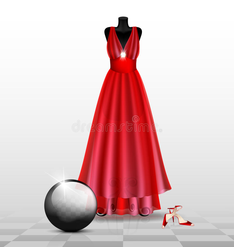 model in de rode avondjurk royalty-vrije illustratie