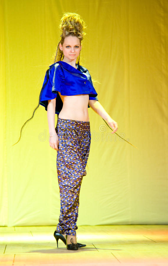 Download Model demonstrates hairdo editorial photo. Image of silk - 24365371