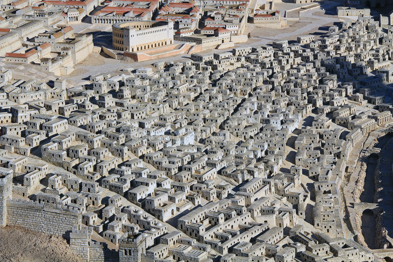Model die van Oud Jeruzalem zich op Hogere Stadshuizen concentreren stock afbeelding